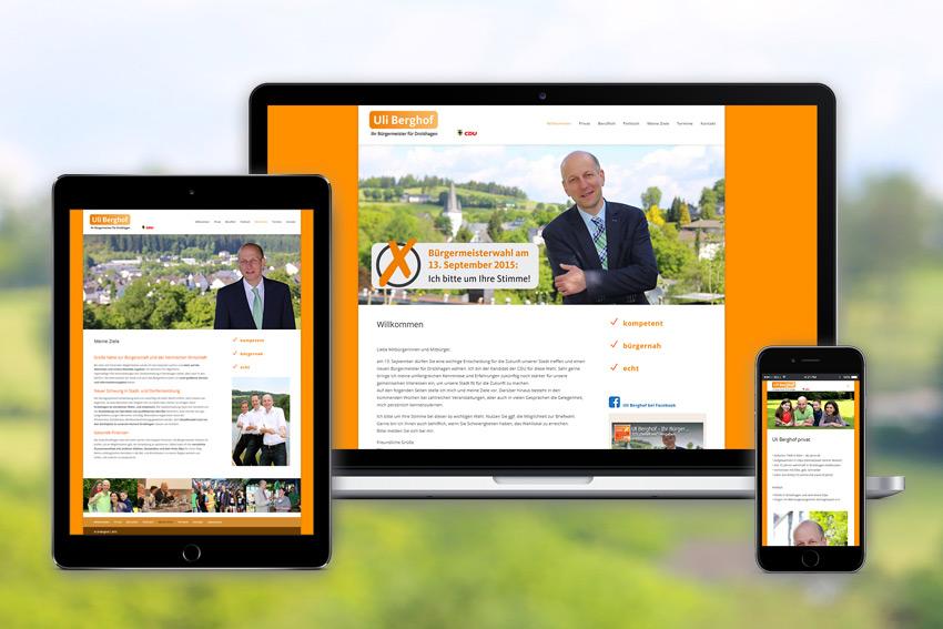 Website für Bürgermeister Uli Berghof