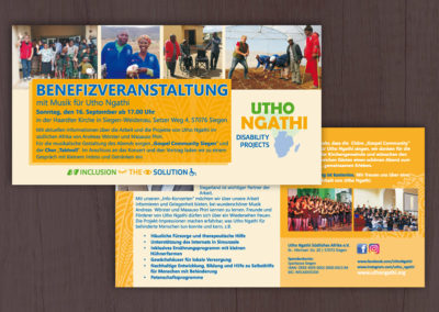 Flyer für den Verein Utho Ngathi