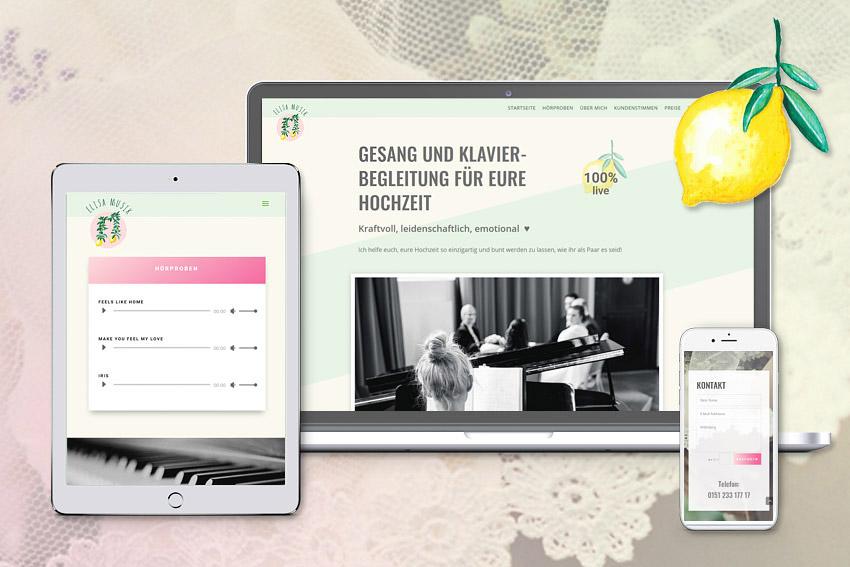 Webseite für die Hochzeitssängerin Elisa