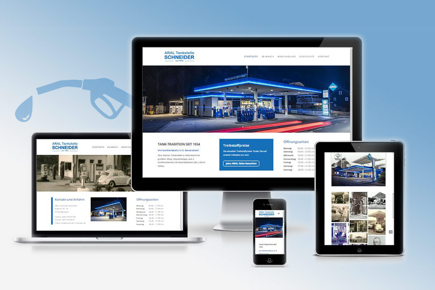 Responsive Webseite für die ARAL Tankstelle Schneider