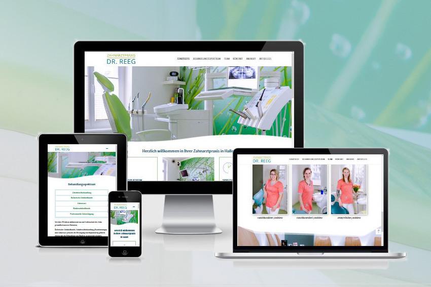 Wordpress Webseite (responsive) für den Zahnarzt Dr. Reeg in Halle (Saale)